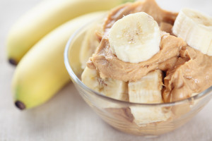 """""""Homemade peanut butter and bananas.Homemade peanut butter ingredients:  peanuts (roasted, unsalted, shelled), peanut oil, honey. No salt, no sugar."""""""